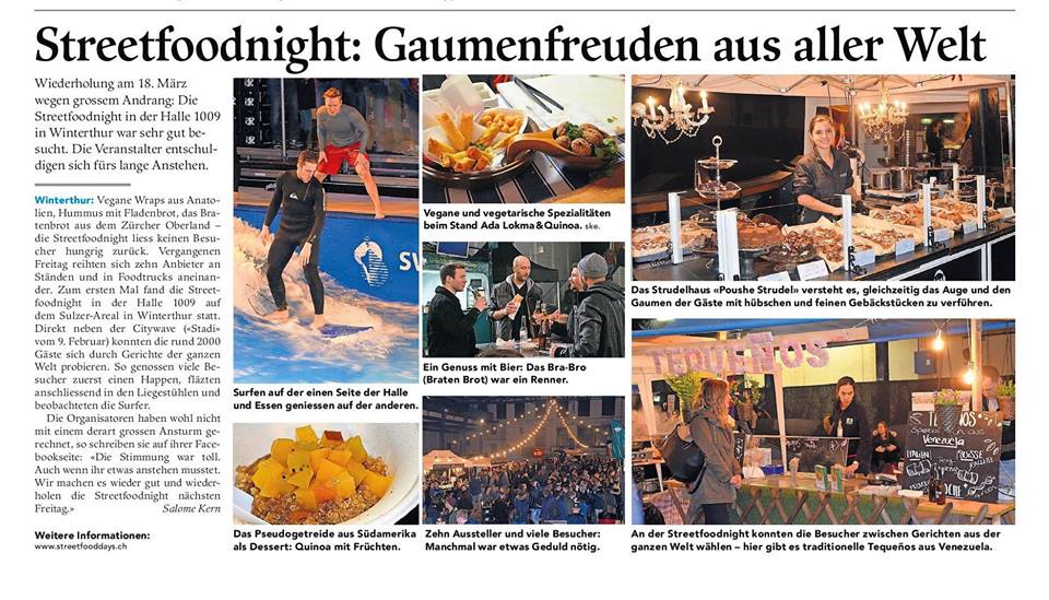 11.03. + 18.03.2016 Streetfooddays - World Food Festival Organisation Streetfoodnight – Winterthur Suzler Areal.